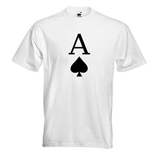 KIWISTAR - Pik Ass Spielkarte T-Shirt in 15 verschiedenen Farben - Herren Funshirt bedruckt Design Sprüche Spruch Motive Oberteil Baumwolle Print Größe S M L XL XXL Weiß