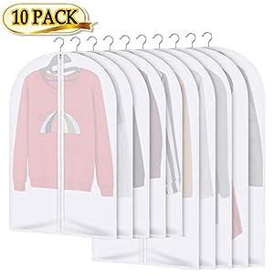 AIDBUCKS Kleidersäcke 10 Stücke Kleiderhülle Anzughülle – Langzeitaufbewahrung Von Jacke Mantel Kleider Anzug Schutz Vor Staub Motten Schäden Durchsichtiger Kunststoff 5x120x60cm 5x100x60cm