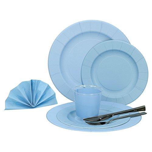 MamboCat 60-tlg. Einweggeschirr Party-Set Pastell Blau Matt | Pappgeschirr für 8 Personen: Pappteller + Becher + Servietten + Besteck | für Festliche Anlässe und Partys -