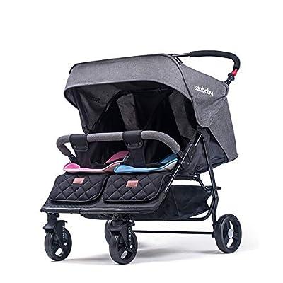 Y&XX Cochecito Doble para configuraciones de Asientos múltiples para bebés y niños pequeños en tándem y cochecitos livianos con conexión de Marco - Gris,Gray
