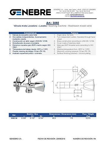 Genebre Kombi-Eckventil Messing verchromt mit Rosette - PN 16-1/2