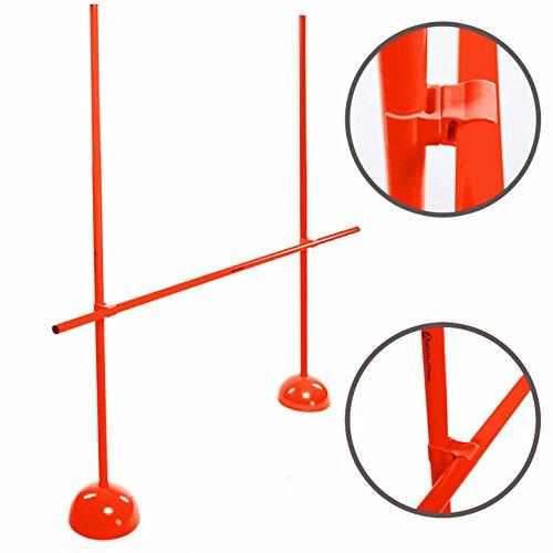 #DoYourFitness Agility Hürden Set/Steckhürdenset mit 3X Stangen (1,5m) & 2X Standhütchen - verstallbares Koordinationstraining in Gelb Oder Rot/Trainingshindernisse für Mehr Beweglichkeit : Rot