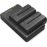 NP-F550 RAVPower Battery Charger Set for Sony NP F970, F330, F750, F770, F960, F530, F570 and More (2-Pack Replacement Battery Kit, 2900mAh, Fully Compatible with Original)