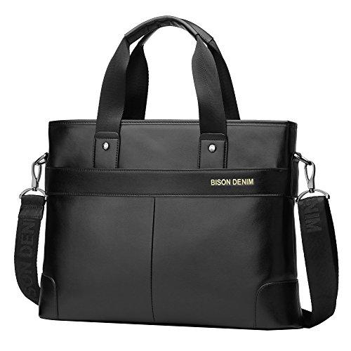 BISON DENIM Herren Klassische Echtes Leder Business Handtasche Aktenkoffer Schulter Messenger Satchel Tasche für Laptop Macbook Schwarz/N2195-2H