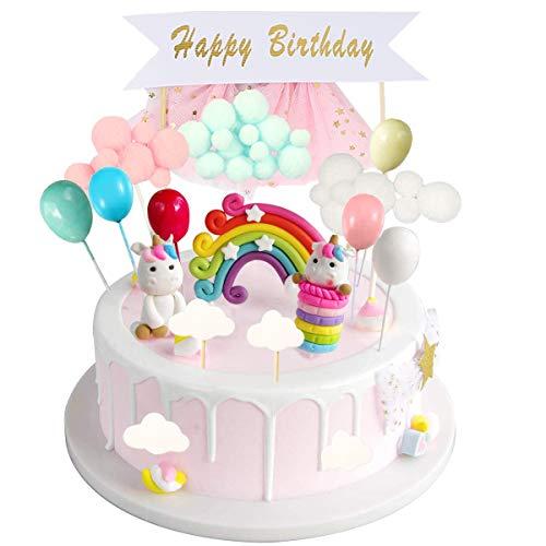 Tortendeko Geburtstag Einhorn, Kuchen Topper, Cake Topper,Einhorntortendekoration Kit für Kinder...
