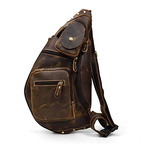 LUUFAN Herren Echtes Leder Sling Bag Brusttasche Cross Body Bag Cross Durable Schulter Rucksack (Brown 3) - Schulter-rucksack