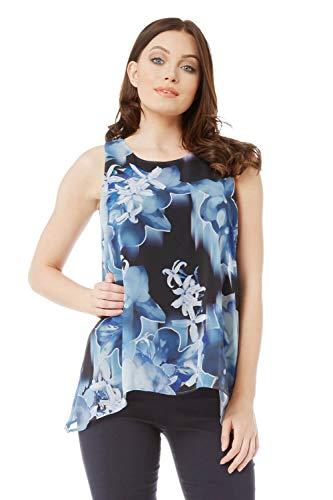 Roman Originals Damen Chiffon-Overlay-Top mit Blumen-Print - Damen ärmellose Tops mit rundem Ausschnitt zum Ausgehen, für Cocktail-Partys, Urlaub - Blau - Größe 42