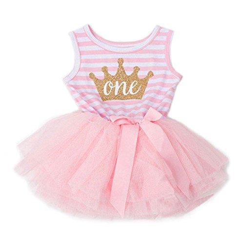 Baby Mädchen Geburtstags Kleid Sequin Tütü Prinzessin Glitzernde Bowknot Partykleid Neugeborene Säuglings Kleinkind Kleider Rosa Krone Gestreift/6-12M
