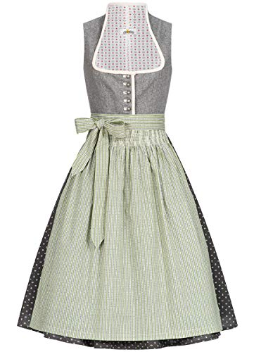 Almsach Damen Trachten-Mode Midi Dirndl Dora traditionell Gr.32-54, Größe:42, Farbe:Grau/Grün-Blau