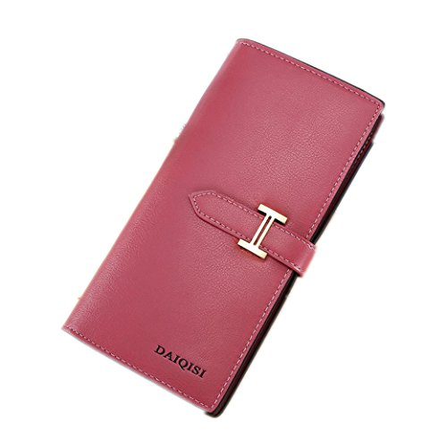 Portafoglio Donna, Tpulling Grande borsa di supporto della carta del raccoglitore della frizione della frizione di cuoio di grande capacità per le donne (Pink) Hot pink