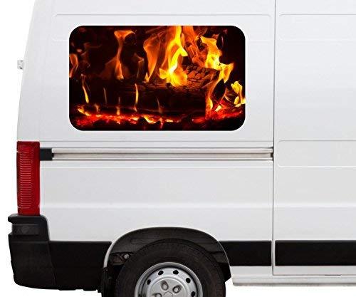 Autoaufkleber Feuer Lagerfeuer Kamin Flamme Holz Car Wohnmobil Auto tuning Digital Druck Fenster Sticker LKW Bild Aufkleber 21B259, Größe 3D sticker:ca. 45cmx27cm (Lkw-fenster-folie)