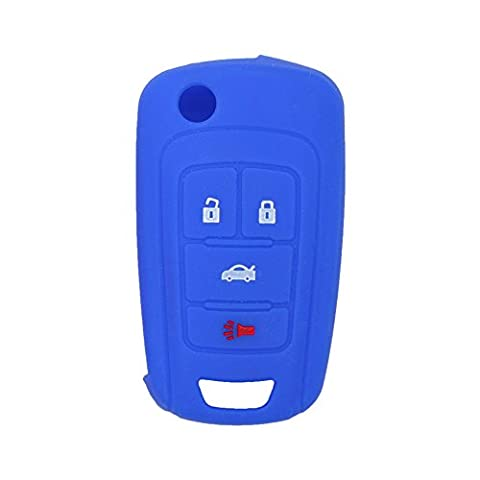 Fassport Silicone Cover Skin Jacket fit for BUICK CHEVROLET 4 Button Flip Remote Key Hollow Texture CV9601 Deep Blue
