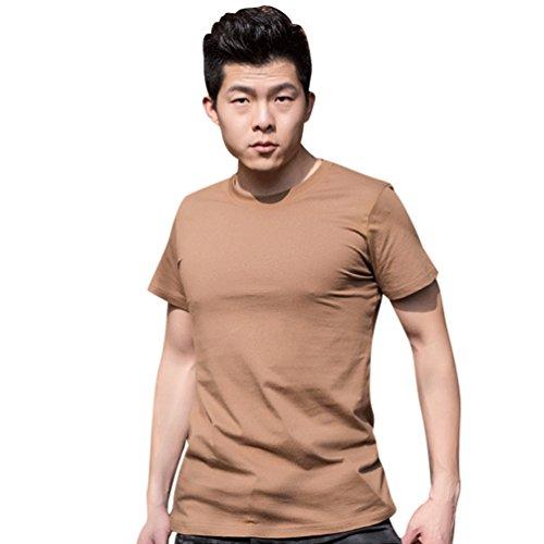 YuanDian Homme Été Décontracte 100% Coton Tactique de Plein Air T-Shirts Entraînement Manches Courtes Séchage Rapide Respirant Militaire Style Haut Chemises