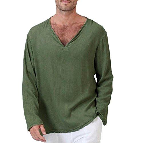 TEELONG Herren Sommer T-Shirt Baumwolle Leinen Thai Hippie Hemd V-Ausschnitt Strand Yoga Top Bluse Hemd Weste Sweatshirt Baumwollshirt Longshirt Ärmellos Playsuit(4XL, Armee-Grün