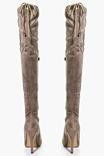 taupe Damen Harriet Stiletto Over The Knee Boot Taupe