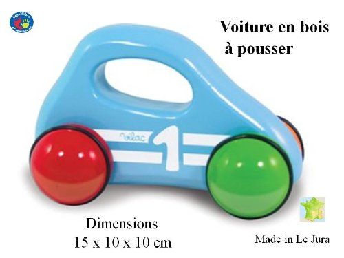 Voiture bleue en bois à faire rouler - dès 1 an - artisanat Français - finition superbe