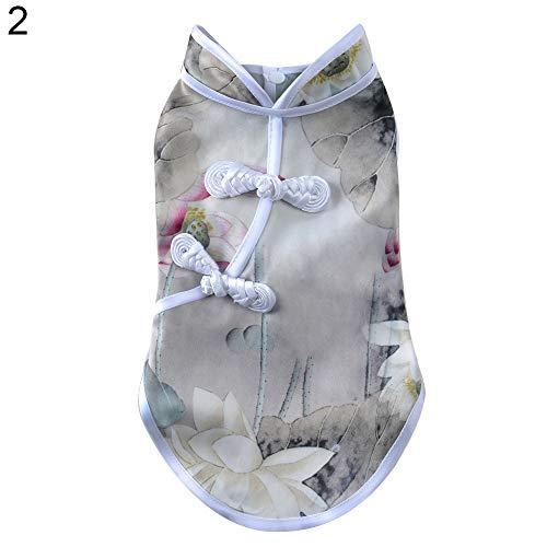CricTeQleap Reizende Chinesische Kultur Cheongsam Art-Kleidung-Blumendruck-Welpen-Sleeveless Bekleidung 2# -