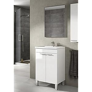 Mueble lavabo de baño-aseo pequeño con espejo incluido y lavamanos cerámico, 2 puertas color blanco brillo 50 ancho x 80…