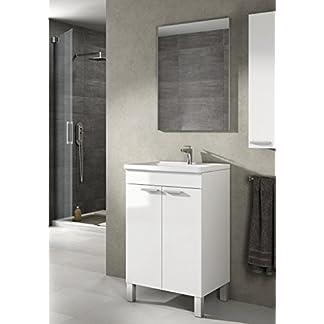 417IWajEXDL. SS324  - Mueble lavabo de baño-aseo pequeño con espejo incluido y lavamanos cerámico, 2 puertas color blanco brillo 50 ancho x 80 alto x 40 profundidad