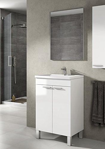 Mueble lavabo de baño-aseo pequeño con espejo incluido y lavamanos cerámico, 2...