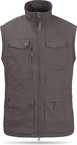 normani Sommer Outdoor Weste mit Sonnenschutz 50+ mit 9 Taschen und Netzinnenfutter Farbe Anthrazit Größe XL