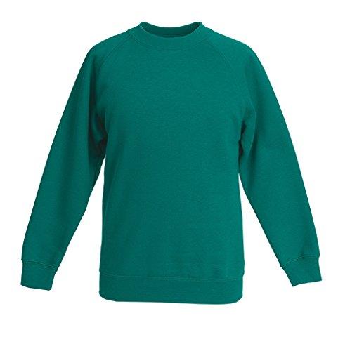 Fruit Of The Loom Raglan Sweatshirt Kinder-Smaragdgrün