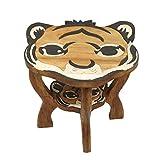 Oriental Galerie Kindertisch Spieltisch für Kinder Tiger Nr. 2 ca. 50cm Durchmesser & 45cm Höhe Natur Braun Limboholz Holz