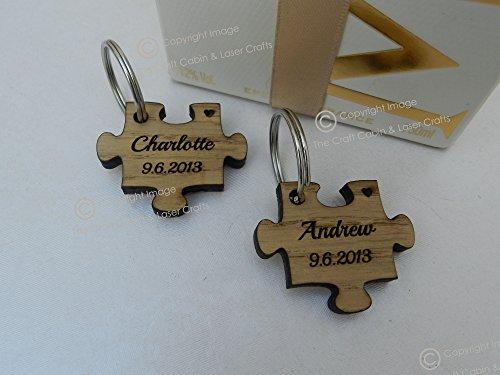 Personalizable de madera Jigsaw Puzzle llavero, Valentines, aniversario, vintage bodas