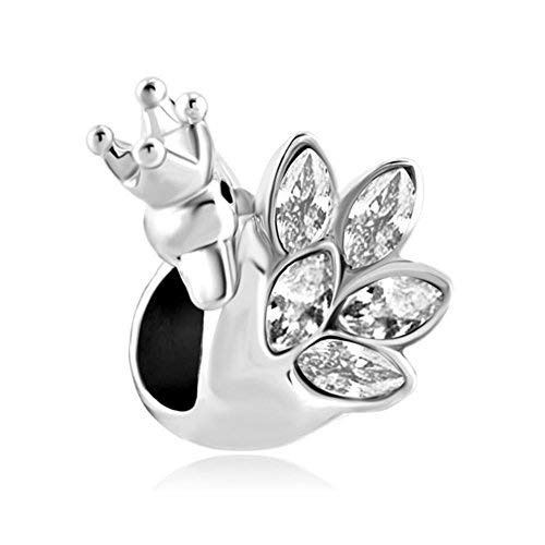 Korliya, charm per braccialetto a forma di cigno con corona