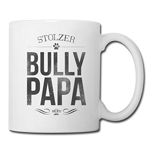 Spreadshirt Stolzer Bully Papa Bulldogge Herrchen Tasse, Weiß