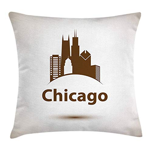 Chicago Skyline Throw Pillow Cushion Cover, USA City Old Fashioned Urban in Earth Toned Retro Poster Design, Decorative Square Accent Pillow Case, 18 X 18 inches, Eggshell Chocolate