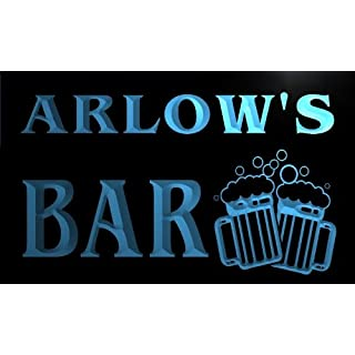 w099737-b ARLOW Name Home Bar Pub Beer Mugs Cheers Neon Light Sign