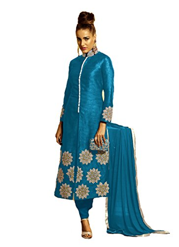 Saree7 HP Women's Bhagalpuri Silk with resham embroidery butta & stone work...