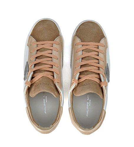 Philippe Model Sneakers Classic Leder Weiss und Wildleder Zartrosacipria Weiß