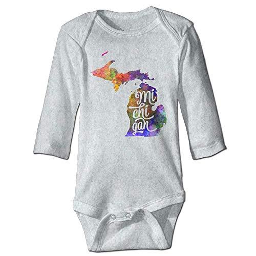 MSGDF Unisex Newborn Bodysuits Michigan U Baby Babysuit Long Sleeve Jumpsuit Sunsuit Outfit Ash