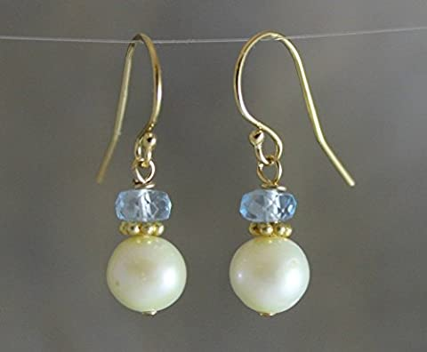 Cultured Freshwater Pearl Blue Topaz 14kt Gold Filled Earwires Earrings