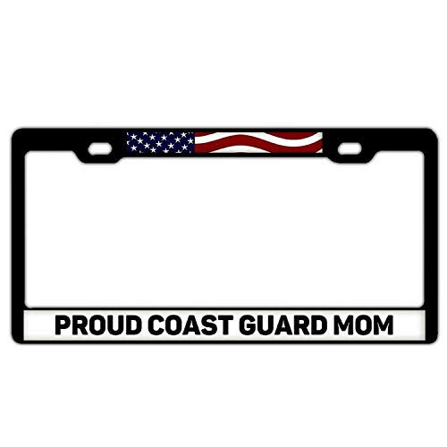 Nummernschildabdeckung aus Aluminium, mit 2 Löchern und Schrauben, Schwarz, Proud Coast Guard Mom - Coast Guard License Plate