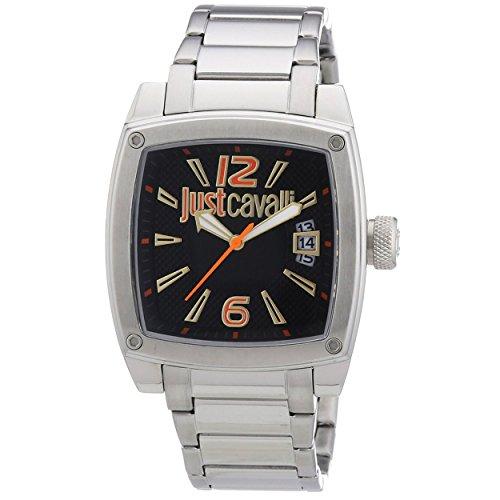 Just Cavalli Hombres pulpa de la esfera de color negro reloj pulsera de acero R7253583001