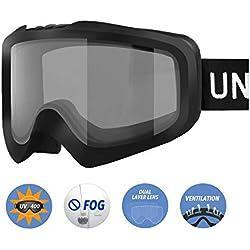 Unigear Lunettes de Ski, Lunettes de Snowboard Cylindrique Anti-buée pour Adultes, Ski Goggles Anti-UV400 Système de Ventilation Adapté pour Les Activités Ski Cyclisme Moto (Noir-Gris)