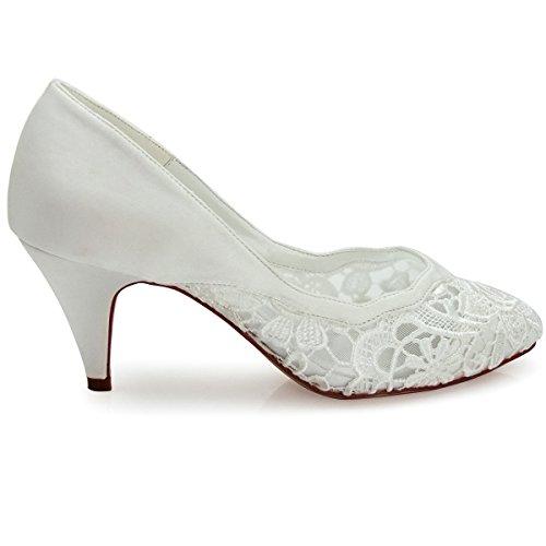 ElegantPark HC1501 Escarpins Femme Bord d'onde Lace Chaussures de mariee mariage Ivoire