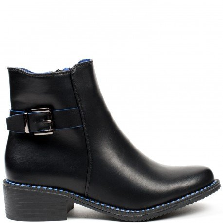 Ideal Shoes - Bottines en similicuir avec liseré bicolore Tyana Bleu