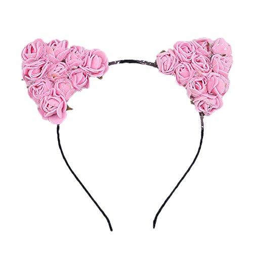 Dosige Haarreif Schwarz Schaum Katzenohren Ohren Kostüm Haar Stirnband für Party und Tägliche Tragen 0.5cm Breit Rosa
