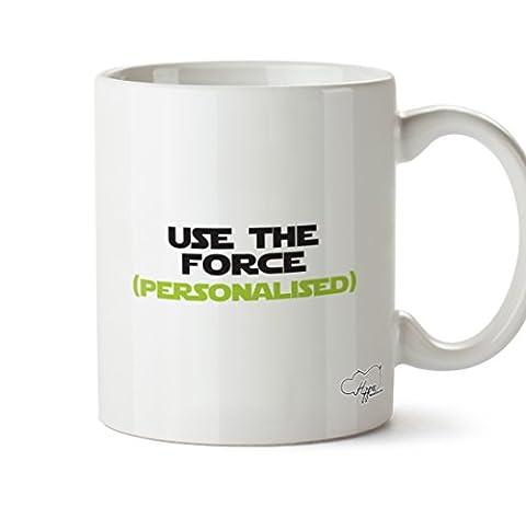 Hippowarehouse Use The Force (votre nom) Vert–personnalisée 283,5gram Mug Cup, Céramique, blanc, One Size