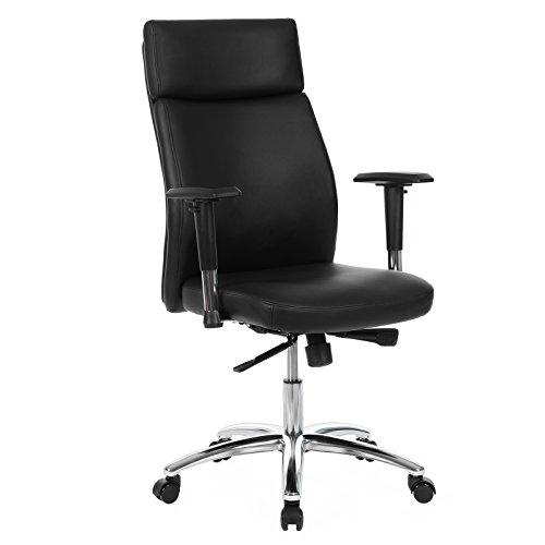 Songmics Bürostuhl mit hoher Rückenlehne Lastabhängig gebremste Hartbodenrollen verstellbare Armlehnen Chefsessel Schreibtischstuhl PU schwarz OBG92B