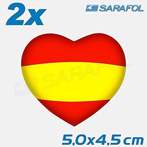2x Spanien Herz Aufkleber (Nr.052) Spain Heart Auto Sticker España Corazón 5,0x4,5 cm