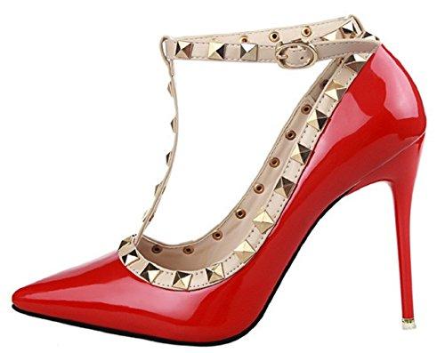 HooH Femmes Boucle Cheville Clouté Stiletto Mariage Escarpins 1132-8 Rouge