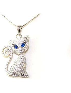 Kette mit Katzen-Anhänger, Sterling-Silber 925, mit Kristallen besetzt, Kette ca. 41cm lang, tolles Geschenk
