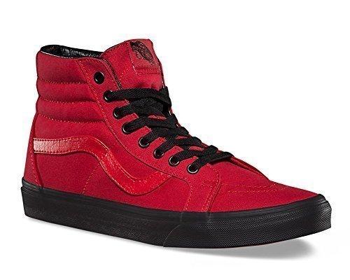 Vans Men's Black Outsole SK8 Hi Reissue Racing Red/Black Sneakers Shoes (5.5)