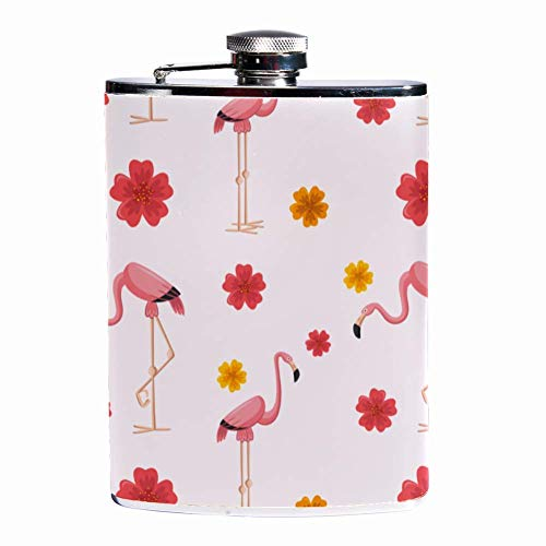 Rundafuwu Schnapsflasche, Leak Proof Liquor Hip Flask 7 oz Flagon Mug with Flamingos Pattern with Flowers Print Pocket Container for Discrete Shot Drinking of Whiskey Alcohol Liquor -