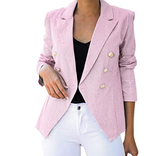 serliyDamen Elegant Langarm Blazer Einfarbig Slim Fit Revers Geschäft Büro Jacke Kurz Mantel Anzüge Freizeitjacke Anzugjacke